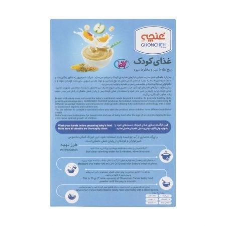 غذای کودک پنج غله با شیر و مخلوط میوه غنچه/۲۵۰ گرم