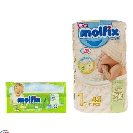 پوشک بچه مولفیکس سایز ۱ (۲ تا ۵ کیلو)/۴۲ عددی