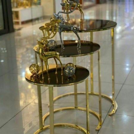 میز عسلی طلایی مجموعه ۳ عددی